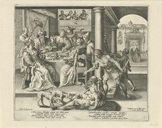 Crispijn van de Passe (I)   Lazarus bedelt in het huis van de rijke man, Crispijn van de Passe (I), 1589 - 1611   De rijke man zit met zijn gezelschap rond een rijk gevulde tafel. Op de achtergrond spelen muzikanten. Op de voorgrond ligt de arme Lazarus, met een bedelnap in zijn hand. Honden likken zijn wonden. Een bediende dreigt hem met een stok te slaan. Prent uit een serie van vier met de gelijkenis van de rijke man en de arme Lazarus.