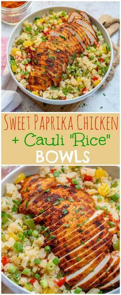 Sweet Paprika Chicken Cauli Rice Bowls for Clean Eating Meal Prep Clean Food Crush Paleo Recipes, Whole Food Recipes, Cooking Recipes, Potato Recipes, Food Crush, Meal Prep, Healthy Eating, Eating Clean, Clean Eating Chicken
