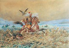Juliusz KOSSAK (1824-1899)  Kozak z ogarem i sokołem akwarela, papier; 40,5 x 57,3 cm (w świetle oprawy); sygn. i dat. p. d.: Juliusz Kossak / 1899