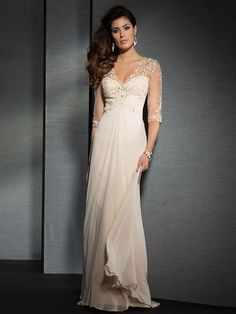 A-Line/Princess V-neck Applique 3/4 Sleeves Floor-Length Chiffon Mother of the Bride Dresses