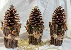 40 Easy and Cute DIY Pine Cone Christmas Crafts holiday homemade pinecone xmas ornaments 29 Pine Cone Christmas Decorations, Pine Cone Christmas Tree, Noel Christmas, Xmas Ornaments, Homemade Christmas, Rustic Christmas, Tree Decorations, Homemade Ornaments, Christmas Projects
