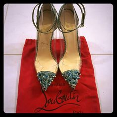 """Christian Louboutin """"Just Picks"""" Pumps Never worn! """"Just Picks"""" green reptile print, pointed toe, spike & crystal encrusted toe, transparent side panels, signiture red leather soles. Christian Louboutin Shoes Heels"""