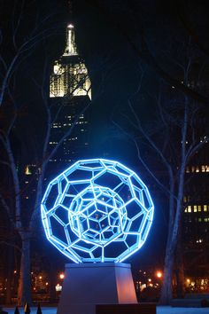 The Dodechehedra in Madison Square Park, with the Empire State Building in the background. Taken 1/9/13