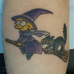 """witchy walk in on @smellslikegrrl  #lisasimpson #simpsons #witchtattoo #simpsonstattoo"""