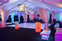Studio 54 dance floor is recreated for this 70s themed party.