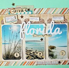Scrapbook Circle Kits like how she tucked the embellishments in behind the photos and the next layer of paper in the upper left corner. Beach Scrapbook Layouts, Travel Scrapbook Pages, Vacation Scrapbook, Scrapbook Sketches, Scrapbook Paper Crafts, Scrapbooking Layouts, Scrapbook Cards, Vacation Pics, Scrapbook Photos