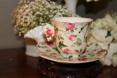 Pretty Rose pink and green cup and saucer set, for rent from southernvintagegeorgia.com