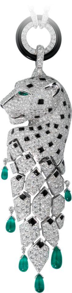 White gold, emeralds, onyx, diamonds