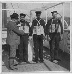 A photograph of a board of trade inspector examining lifebelts on Titanic at Southampton, April 10 Getty Images Rms Titanic, Titanic History, Titanic Ship, Titanic Poster, Liverpool, Haunting Photos, Modern History, Vintage Photos, The Past
