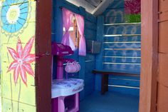 Little wooden playhouse for kids