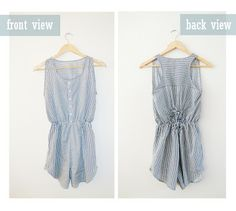 anienessence: DIY: Romper from Men's Shirt