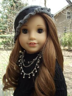 American Girl size Ruffled Wool Cloche'  with Beads Boho style.........this.is.sweet!!
