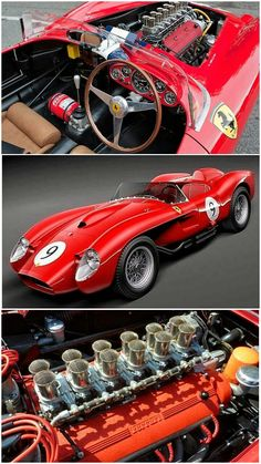 1957 Ferrari 250 Testa Rossa - While Ferrari Testarossas might bring back memories of the 1980s, Miami Vice, and a mid-engine supercar with massive side strakes, it's this SOHC V12 powered 1957 model which holds the more important place in Ferrari history. Not only was the 250 Testa Rossa one of Ferrari's most successful racecars on the track, it also had a beautiful purposeful body by renowned Italian designer Scaglietti. #ScuderiaFerrari #RedSeason