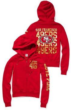 Victoria's Secret Pink® San Francisco 49ers Bling Zip Hoodie thestylecure.com