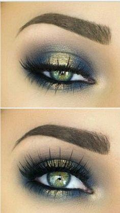 Gold/teal/green smokey eye