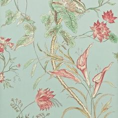 Sanderson Mauritius Behang 'Mauritius' is a gravure printed wallpaper that has been adapted from an early 19th century French printed cotton design, retaining the best elements of the ...