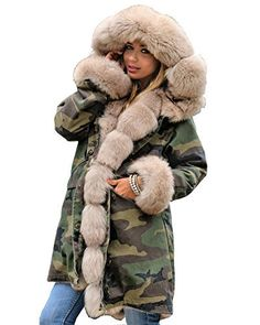 Product review for Roiii Ladies Fur Collar Hooded Parka Military Camouflage Winter Warm Jacket Coat.  - Gold Faux Fur Lined jacket,Camouflage Print Gold Faux Mink Fur Collar ,Also The Sleeve Was Fur lined, Long Trench coat , Closed By Button, With Two Pockets on side Suit For Winter,Autumn, Snow Rain Weather, Outside Outdoor Warm Outearwear,Casual Jacket  This is our size chart for your reference:...