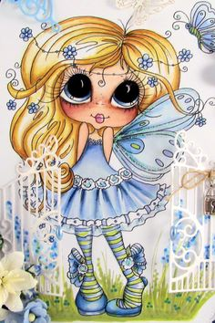 Bestie FAIRY close-up by Gudrun Dieckhoff-Spreckelsen‎ Pictures To Paint, Cute Pictures, Adult Coloring Pages, Coloring Books, Besties, Bear Doll, Digi Stamps, Copics, Cute Dolls