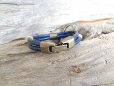 Men's Navy Blue Leather Bracelet Men's Jewelry #bracelet #for #summer #fashion