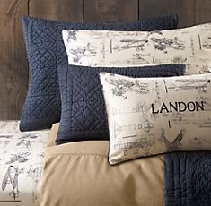 Restoration Hardware: vintage airplane blueprint bedding (perfect for a little boys room)! Love the vintage look for Max's room