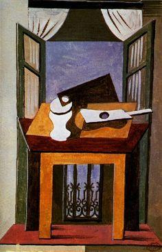 Pablo Picasso, 1919 Nature morte sur une table devant une fenêtre ouverte