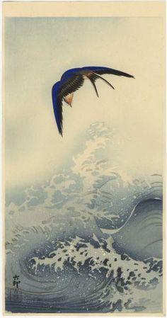 KOSON Japanese Woodblock Print SWALLOW OVER WAVES 1920s