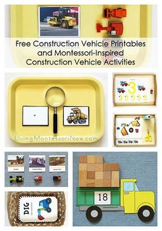 Roundup of free construction vehicle printables plus ideas for using a number of free printables to create Montessori-inspired construction vehicle activities