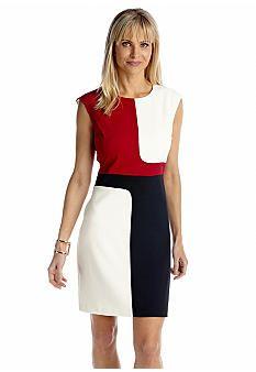 Sandra Darren Cap Sleeve Color Block Sheath Dress