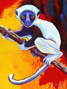 Sifaka Lemur  Canvas Wall Art  Choose Your by CorinaStMartinArt, $36.00