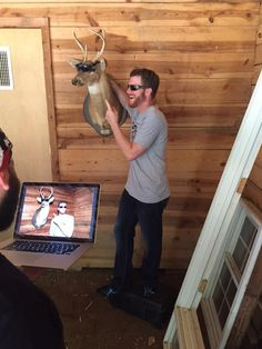 Dale Jr. With the deer from the Mountain Dew commercial. Oct. 2016