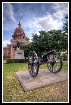 On the afternoon of November 22, 1902, General Frederick Dent Grant (President Grant's son and Commander of the Department of Texas) arrived in Austin for a visit.  Part of the festivities called for a cannon salute from the Capitol lawn.  Unfortunately, one of the cannons fired prematurely causing severe injuries and later death to  Bob Roberts, the man who had been swabbing the cannon and ramming in powder for the next shot.  [Image by flickr user Phil Ostroff]