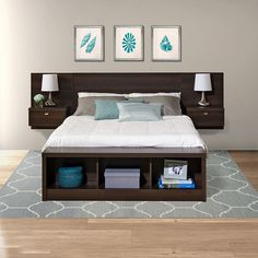 King Platform Bed With Storage Bedroom Furniture Beds Prepac Series Designer Platform Storage Bed Bed Storage, Bedroom Storage, Storage Headboard, Diy King Size Headboard, Make Your Own Headboard, Headboard With Shelves, Headboard With Lights, Queen Headboard, Pallet Furniture