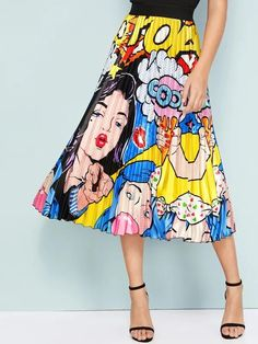 Cartoon & Figure Print Pleated Skirt – GaGodeal