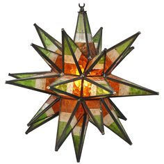 Striking 1930s Moravian Multi-Color Star Light   From a unique collection of antique and modern chandeliers and pendants at https://www.1stdibs.com/furniture/lighting/chandeliers-pendant-lights/