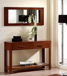Recibidor con espejo rectangular color maple
