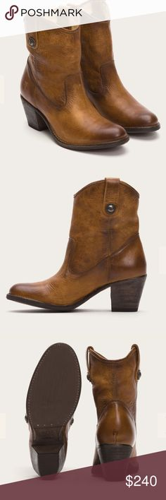 "NWT: Frye Jackie short button boot NWT: Frye Jackie short button boot. Rugged cognac color. Pull up boot washed to give it a broken in look. Pair with your favorite denim or be bold and wear with a gown! Italian leather, antique hardware. 8"" shaft, 12"" shaft circumference and 2.5"" heel. Frye Shoes Ankle Boots & Booties"
