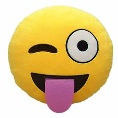 Brand New Emoji Smiley Emoticon Cushion Pillow Stuffed - Material: Polyester Fibers - Size: 32cm(Dia.) x 10cm(Thickness) - Color: As shown in the picture - Style: Tongue Out