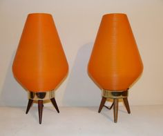 Mid Century Pair of Orange Beehive Lamps Vintage Pair of Atomic Matching  Table Top Lamps