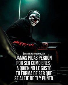 """Eres únicos ,no vivas de la aprobación de lo demás """"👇👇 #Frasesmotivadorasexit ———————————————————- Te gusto la publicación? Déjanos tu… Joker Cosplay, Heath Ledger Joker Quotes, Suicide Squad, Best Quotes, Life Quotes, Sad Love, Spanish Quotes, E Cards, 1"""