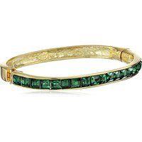 Kenneth Jay Lane Gold-Plated Emerald Glass Hinged Bangle Bracelet$142.5More details