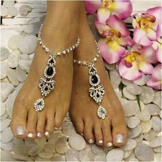 ERINN  barefoot sandals -   black silver #barefootsandals #footjewelry #footlesssandals  #wedding