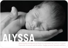 What a beautiful photo on this birth announcement!