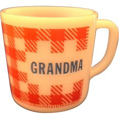 Grandma Red Check Gingham Plaid Milk Glass Mug Westfield Federal from hoosiercollectibles on Ruby Lane