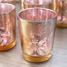 """David Tutera Pink Gold Candle Holders with Gold Damask Pattern<br>2.25"""" x 2.5""""<br>Pack of 12"""