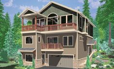 House front color elevation view for 10141 View plan w/ Great rm & Kitchen on Third floor multiple decks