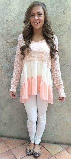 Color blocked ruffle tunic top.