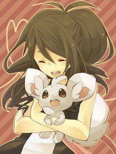 Hilda and minccino! Pokemon Mew, Pokemon Hilda, Touko Pokemon, Pokemon Noir, Black Pokemon, Pokemon Fan Art, Cute Pokemon, Lugia, Manga