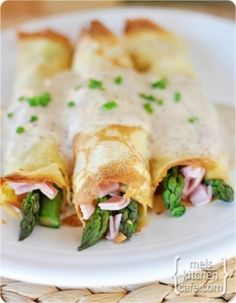 Ham, Swiss & Asparagus crepes by sheryl