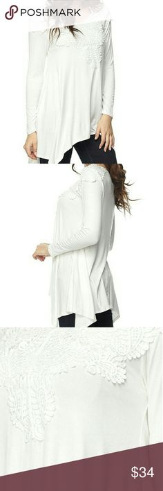 Lace Patch Detailed Tunic Top *COMING SOON An upgrade from your regular tunic, this beauty has lace patch bib detail and sharkbite hem.   It's long sleeves is perfect for layering this Fall season, and perfect with any of the soft leggings available in my closet.   95%Rayon 5%Spandex  Color OFF WHITE   Machine Wash   Made in USA  Coming soon, like or comment for notifications. boutique Tops Tunics