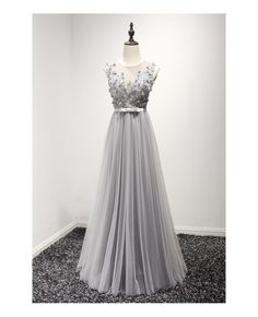 Grace love modest a-line scoop neck floor-length tulle prom dress with beading Tulle Prom Dress, Grad Dresses, Cheap Prom Dresses, Prom Party Dresses, Modest Dresses, Evening Dresses, Short Dresses, Formal Dresses, Tulle Lace